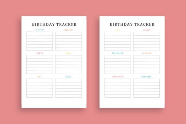 Birthday tracker printable
