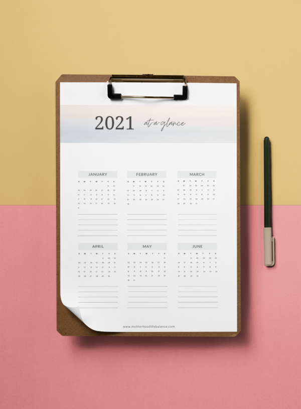 Yearly at a glance calendar