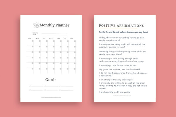 positive affirmations and monthly planner